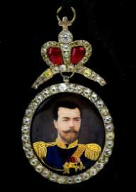 GOLD ENAMELED & DIAMONDS RUSSIAN AWARD w. NICHOLAS 2nd