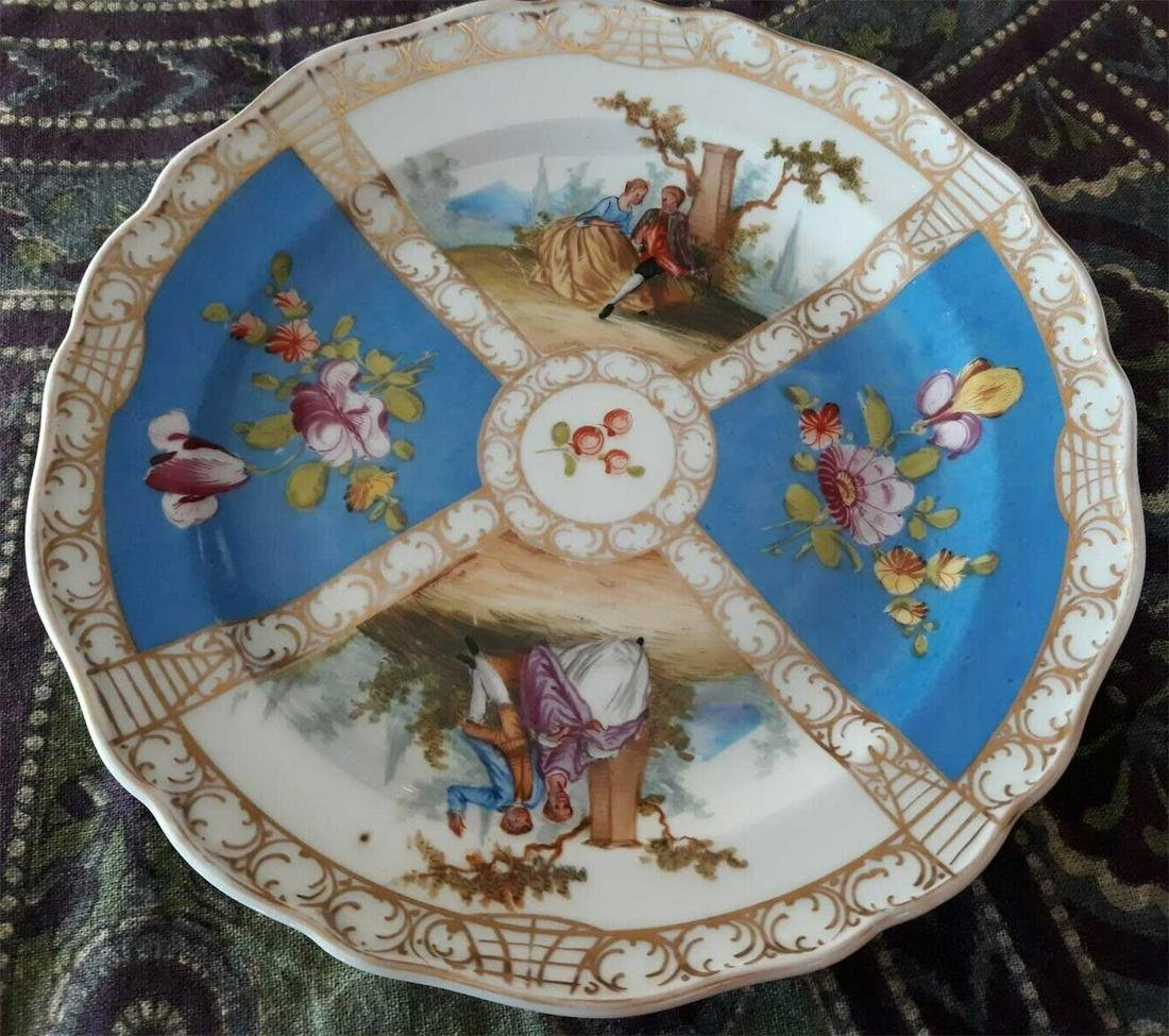 MEISSEN - ANTIQUE CABINET PLATE HAND PAINTED, c. 1890