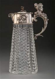 FABERGE - RUSSIAN SILVER & GLASS DECANTER, WINE JAG