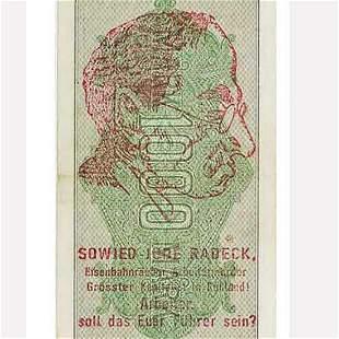 GERMAN ANTI-SEMITIC OVERPRINTED CURRENCY, NOTE
