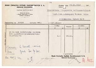 GERMAN WW2 BANK DOCUMENT, ID, KRAKOW POLAND