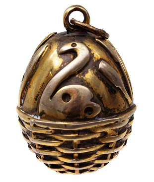 RUSSIAN IMPERIAL SILVER EGG PENDANT