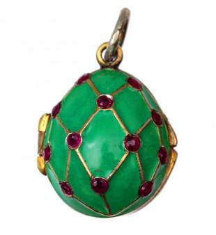 RUSSIAN IMPERIAL SILVER ENAMELLED EGG PENDANT