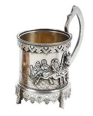 RUSSIAN IMPERIAL SILVER TEA GLASS HOLDER, MUG