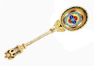 ANTIQUE RUSSIAN SILVER GILT & ENAMELL SPOON, MARKED