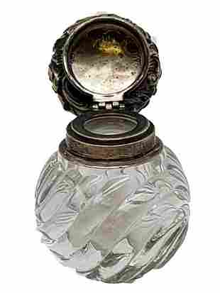 ANTIQUE CUT GLASS & STERLING SILVER INKWELL