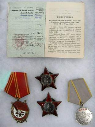FOUR RUSSIAN ORDERS and MEDALS w. DOCUMENT, 1942-1944