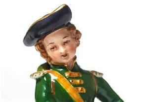 DRESDEN PORCELAIN SOLDIER FIGURINE, MARKED