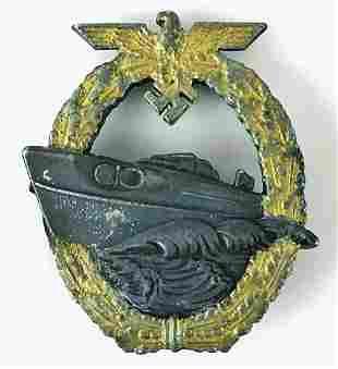 GERMAN WW2 E-BOAT WAR BADGE, SCHNELLBOOT