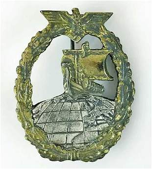 GERMAN WW2 AUXILIARY CRUISER BADGE, RS