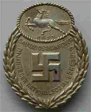 GERMAN WW2 GAU HONOR BADGE, EAST HANNOVER 1933