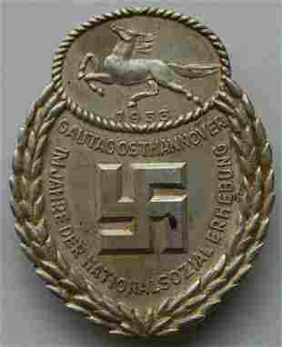 GERMAN WW2 GAU HONOR BADGE, EAST HANNOVER 1933