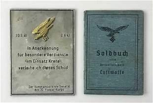 RARE GERMAN WW2 FALLSCHIRMJAGER SOLDBUCH & AWARD