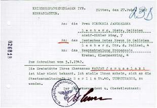 GERMAN WW2 ROTES KREUZ DOCUMENT fr. KL KZ