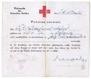 GERMAN WW2 DOCUMENT ID AUSWEIS RED CROSS, 1943