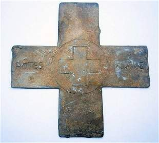 GERMAN WW2 LARGE RED CROSS, TRENCH ART