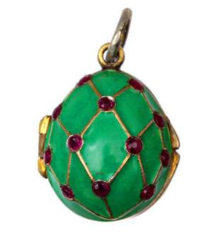 RUSSIAN IMPERIAL SILVER ENAMELLED EGG PENDANT, 19 C.