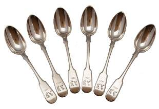 ANTIQUE SET of 6 RUSSIAN SILVER TABLE SPOONS, 1883