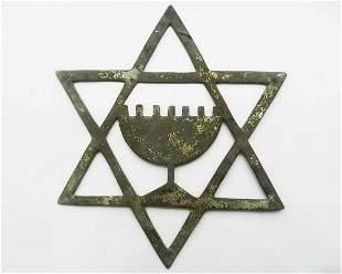 JEWISH WW2 STAR of DAVID w. MENORACH fr. LITZMANNSTADT