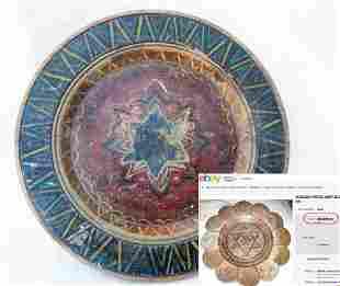 JEWISH WW2 WOOD PLATE w. STAR of DAVID, LITZMANNSTADT