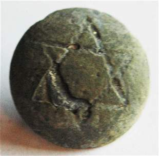 JEWISH WW2 BUTTON w. STAR of DAVID, 1941