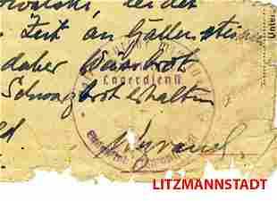 JEWISH HOLOCAUST WW2 DOCUMENT fr. LITZMANNSTADT, 1944