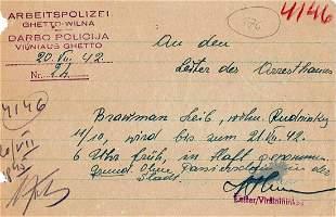 JEWISH HOLOCAUST WW2 ARREST WARRANT fr. GHETTO, 1942