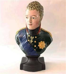 RUSSIAN LARGE PORCELAIN ALEXANDER I, SIGNED, 1812