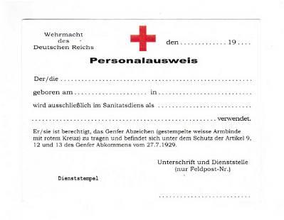GERMAN WW2 RED CROSS PERSONAL AUSWEIS