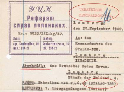 GERMAN WW2 RED CROSS INQUIRY PRISONER of WAR, 1942