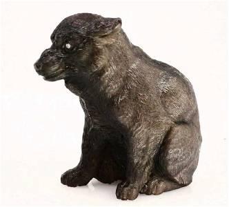 FABERGE - RUSSIAN OBSIDIAN WOLF FIGURINE w. DIAMONDS
