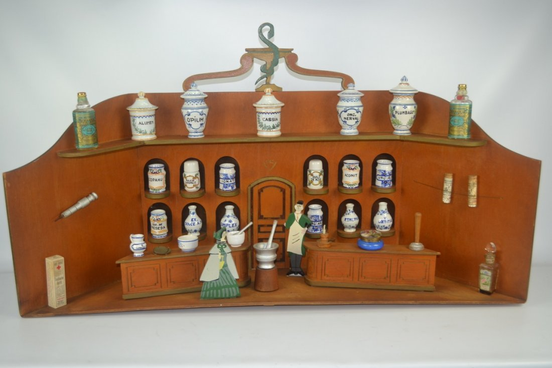 Antique Folk Art Apothecary Drug Store Display