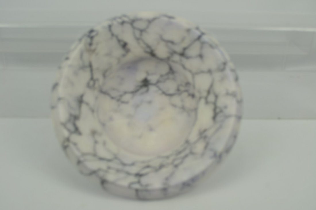 Antique Marble Tazza Bowl on Pedestal - 4