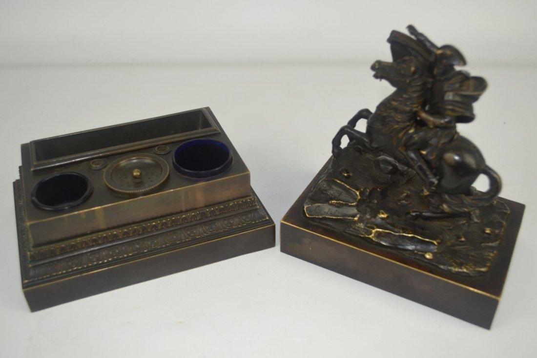 Antique Napoleon Bronze Statue-Inkwell Signed - 3