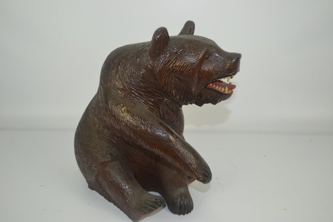 "Carved German Black Forest Bear- 12"" tall - 2"