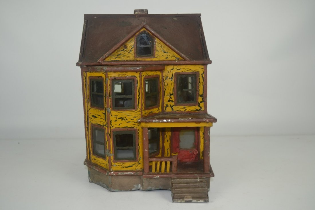 Antique Folk Art Tin House Model