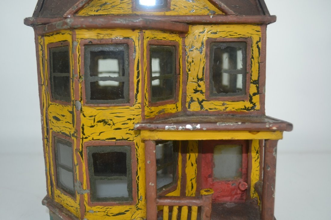 Antique Folk Art Tin House Model - 2