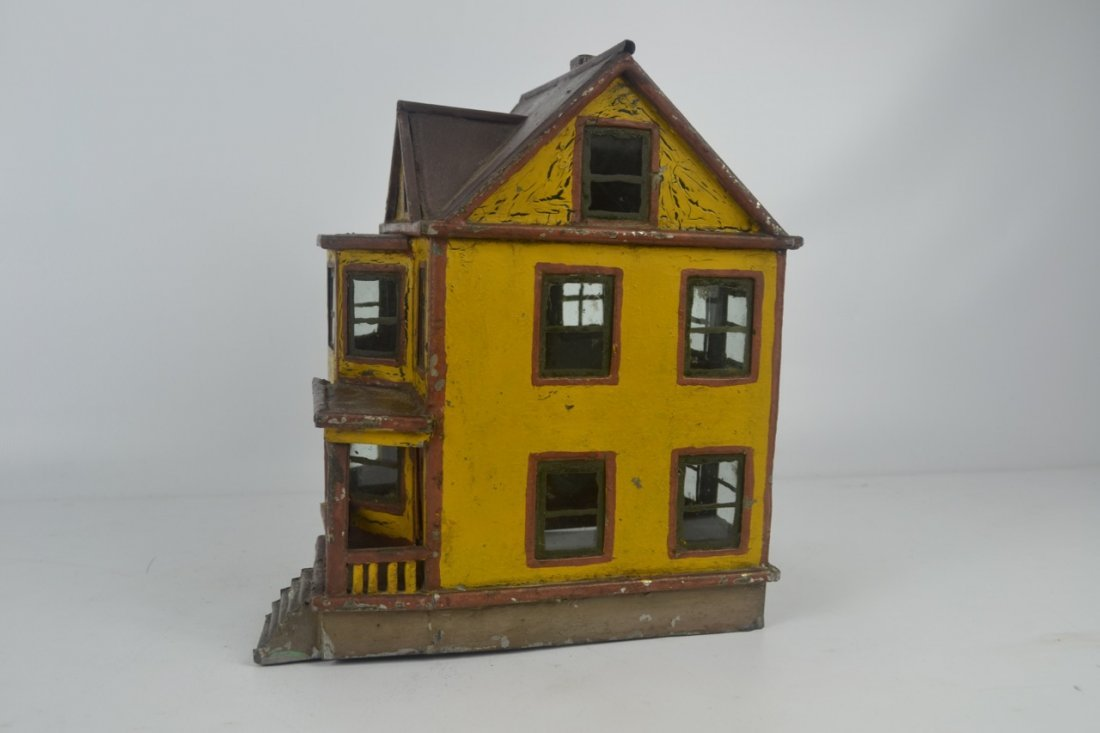 Antique Folk Art Tin House Model - 5