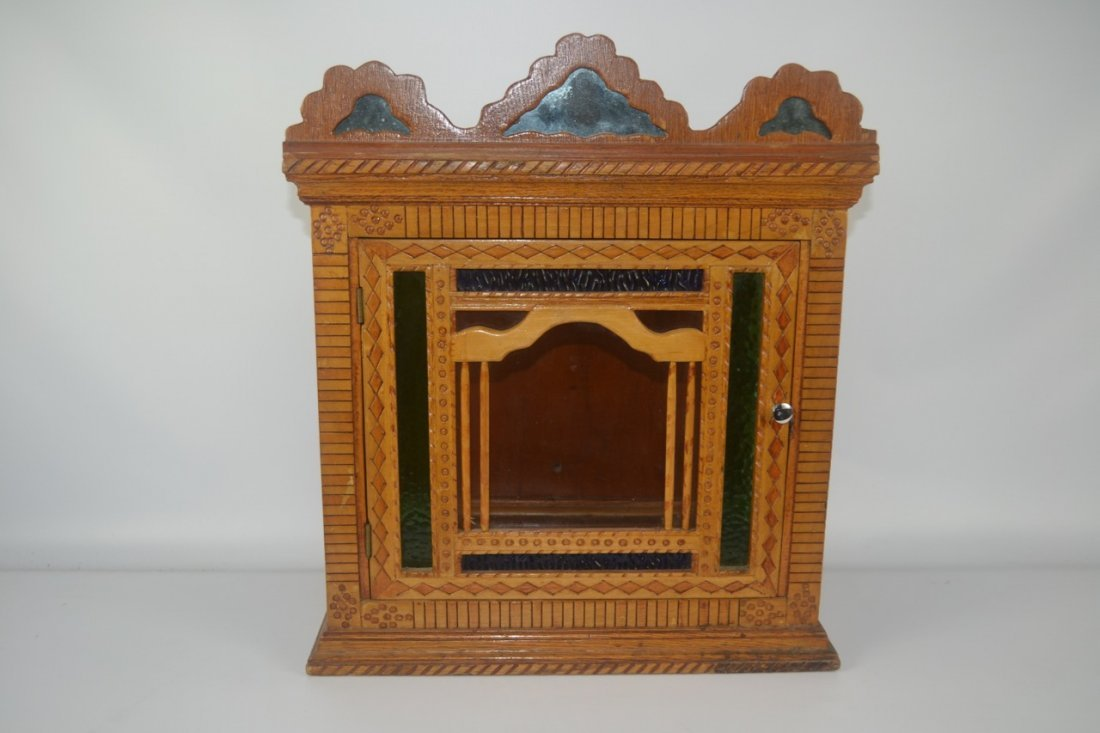 Antique Folk Art Wall Cabinet