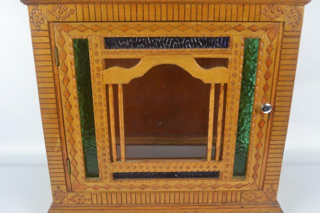 Antique Folk Art Wall Cabinet - 2
