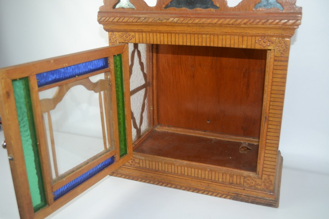 Antique Folk Art Wall Cabinet - 3