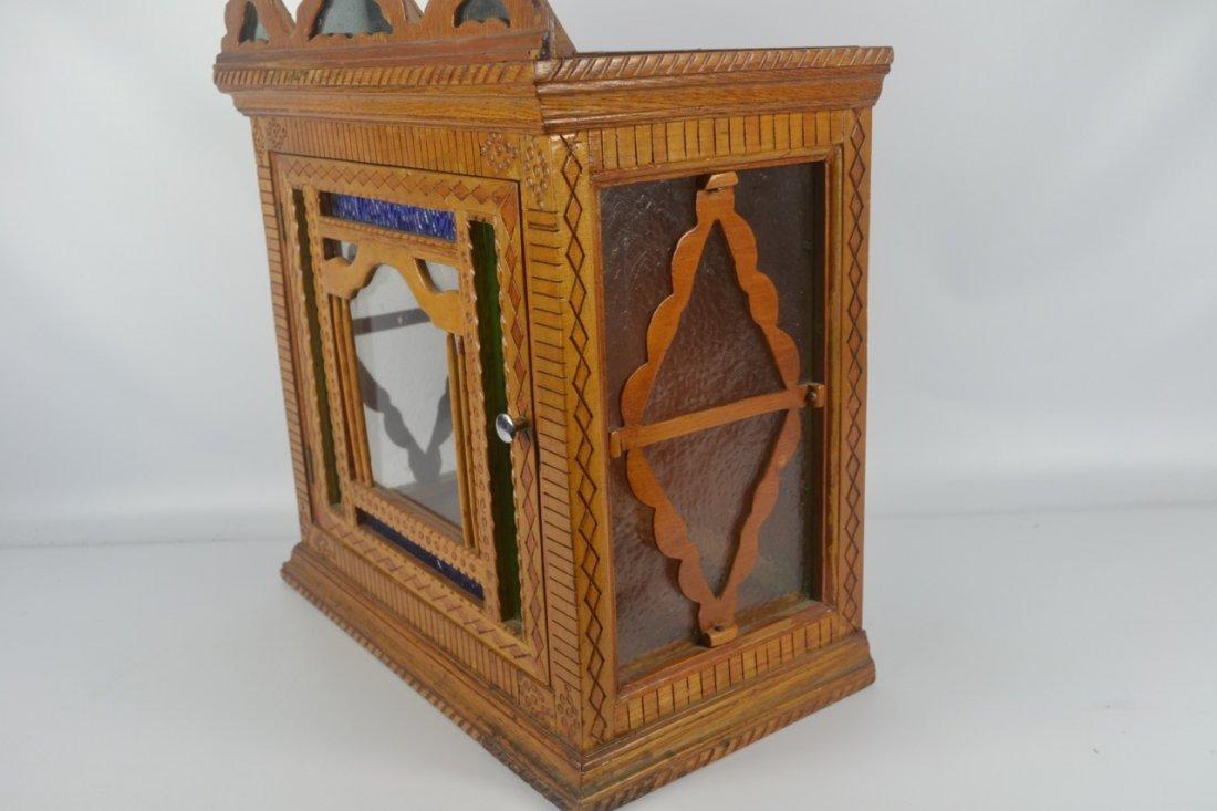 Antique Folk Art Wall Cabinet - 4