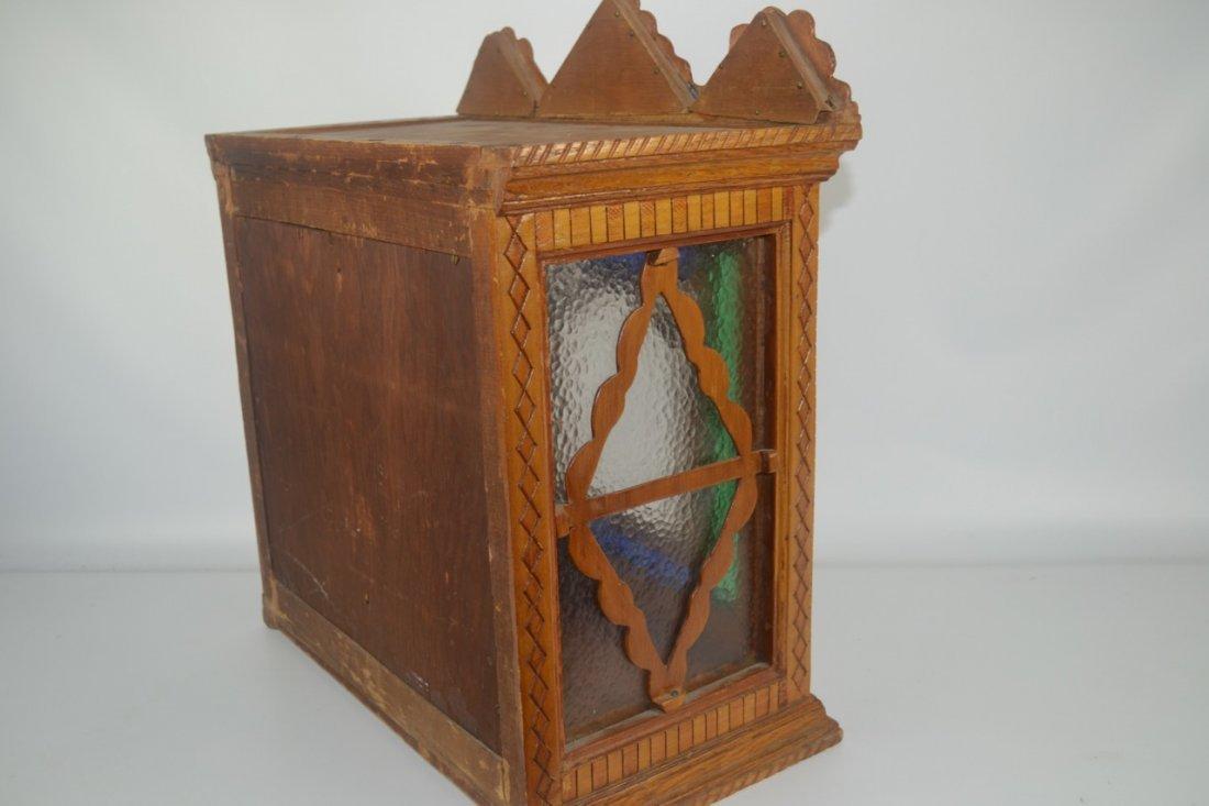 Antique Folk Art Wall Cabinet - 5