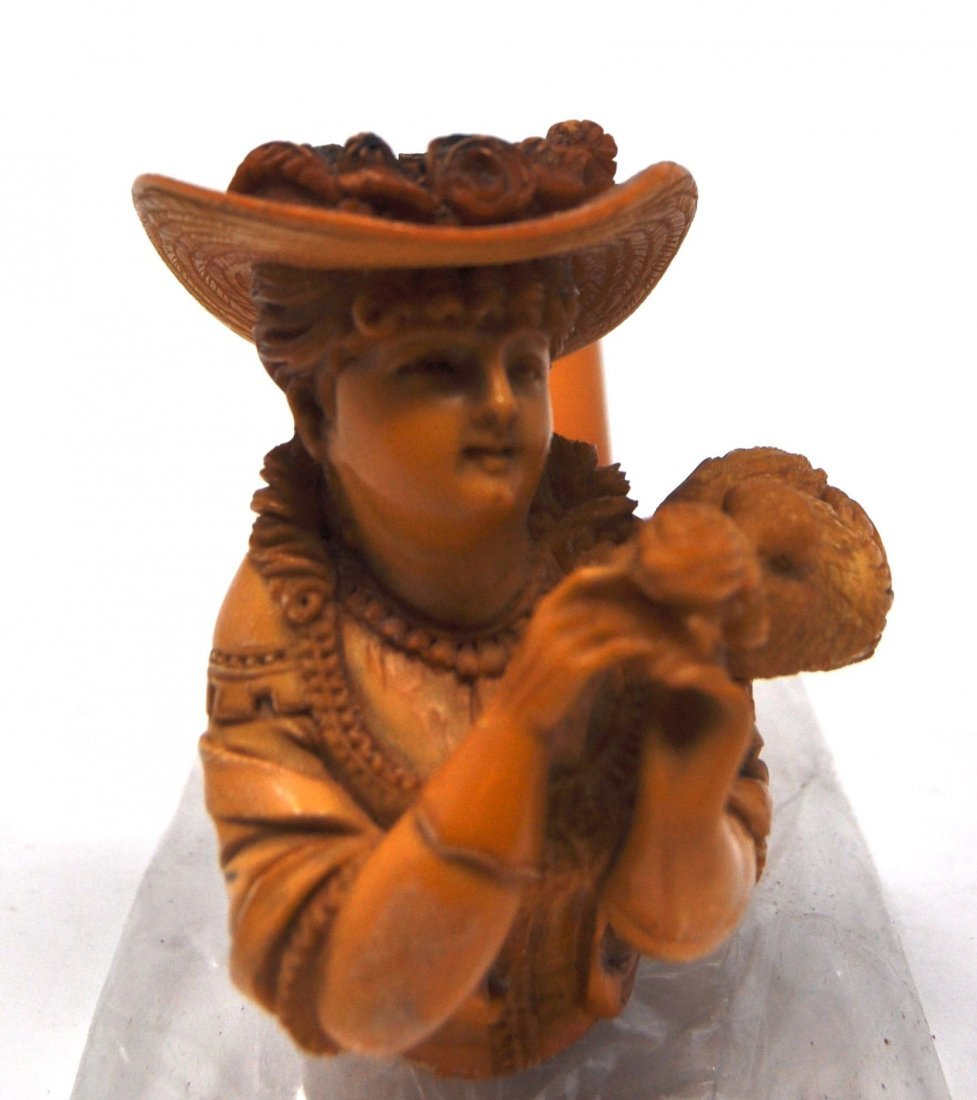 Antique Woman& Bird Meerschaum Pipe