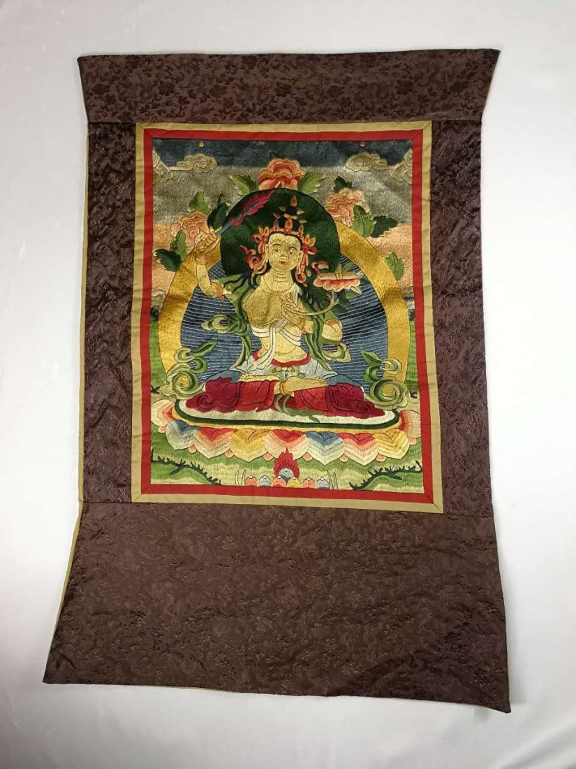 Chinese Qing Dynasty painted brocade mounts silk Thangk - 2
