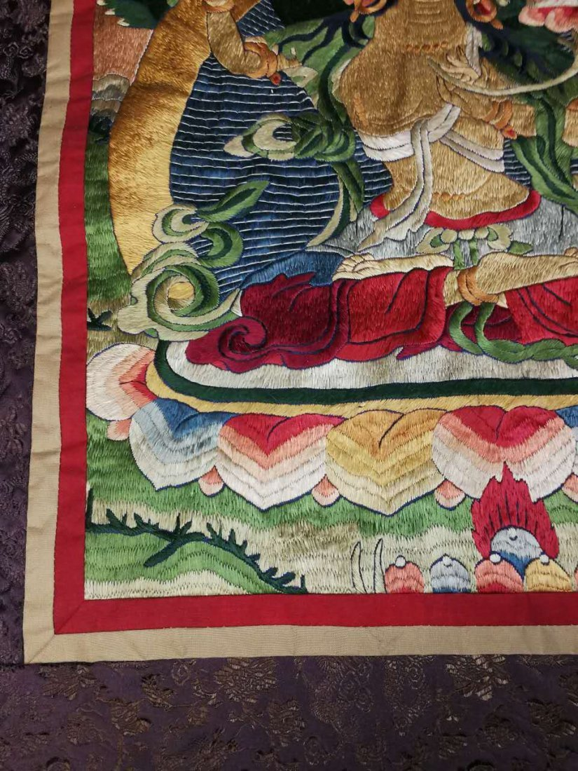 Chinese Qing Dynasty painted brocade mounts silk Thangk - 6