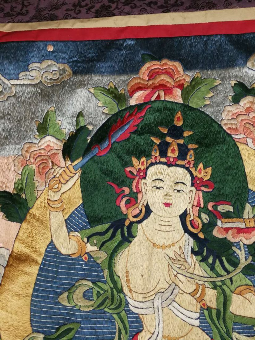 Chinese Qing Dynasty painted brocade mounts silk Thangk - 7