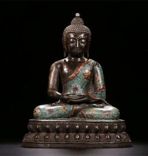 An Estate Peaceful Chinese Cloisonne Buddha Statue