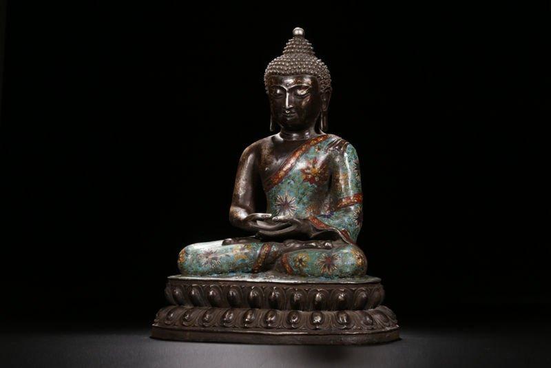 An Estate Peaceful Chinese Cloisonne Buddha Statue - 2