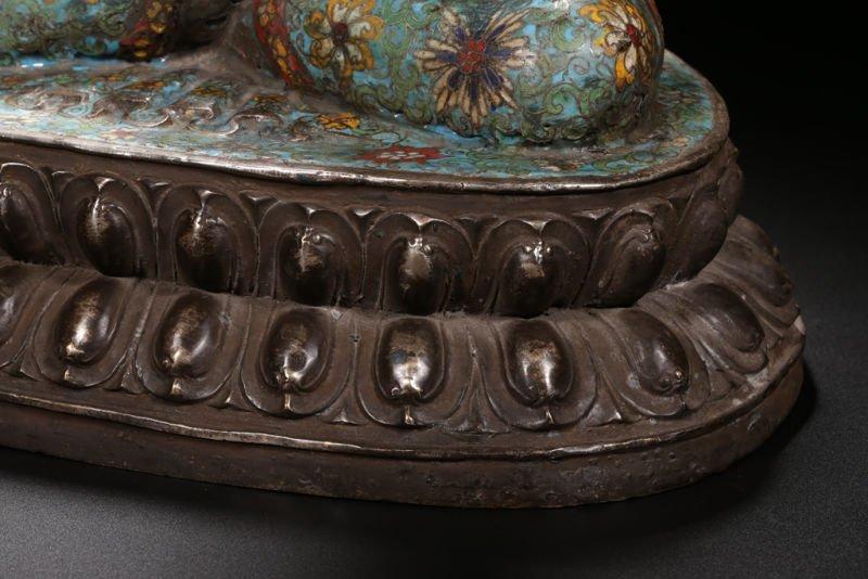 An Estate Peaceful Chinese Cloisonne Buddha Statue - 3